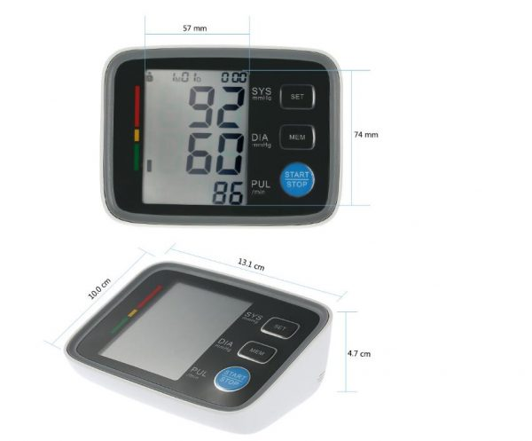 Topside of blood pressure monitor showing dimensions