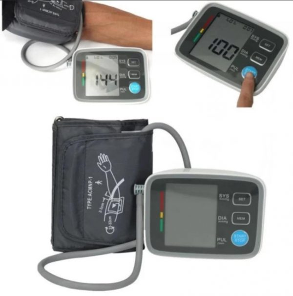 Arm blood pressure monitor connected to cuff